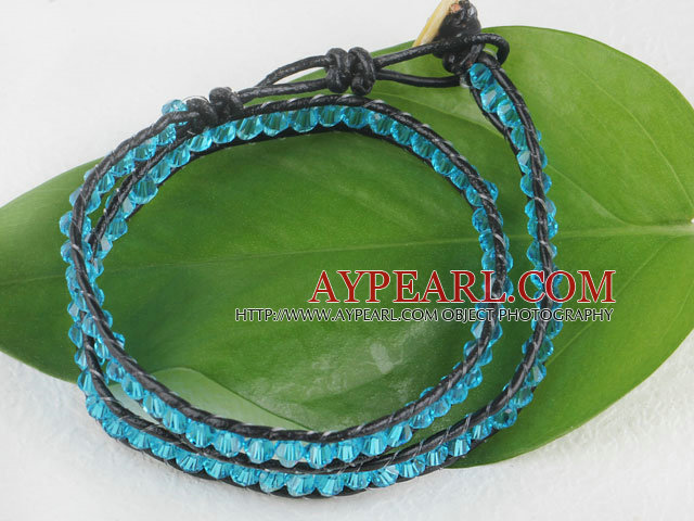Blue manmade crystal leather thread wrap bracelet