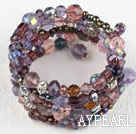 Wholesale Assorted multi color crystal multi wrap bangle bracelet