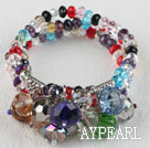 Wholesale popular 7.5 inches three strand multi color crystal bracelet bangle