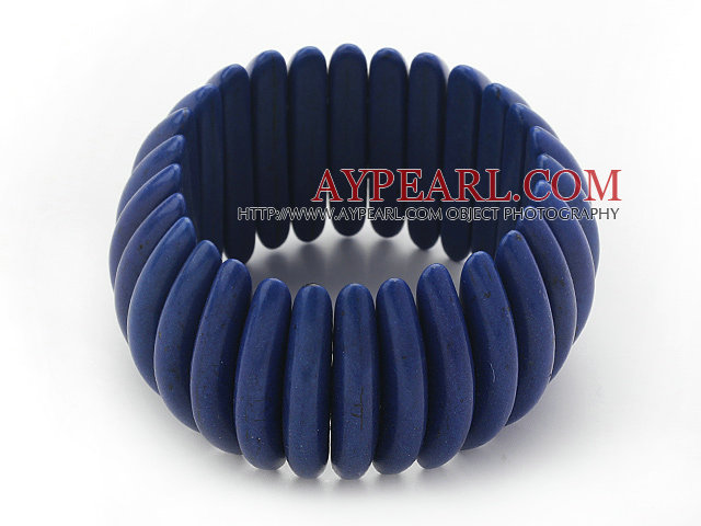 Classic Design Long Spike Shape Dark Blue Turquoise Stretch Bangle Bracelet