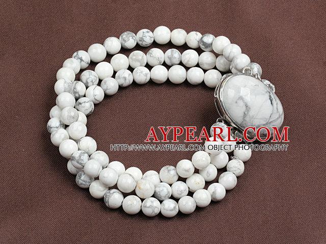 Fashion Three Strand 6Mm White Howlite Beads Bracelet