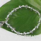 Wholesale 7.5 inches elastic gray crystal bracelet