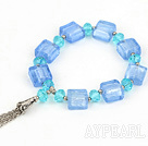 7.5 inches blue crystal and colored glaze bracelet