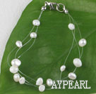 7.5 inches white pearl bracelet with lobster clasp