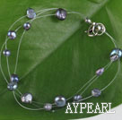 7.5 inches black pearl bracelet with lobster clasp