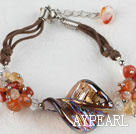 Wholesale 7.5 inches agate crystal and colored glaze bracelet with extendable chain