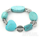 Stretch chunky style assorted shape turquoise and flower beads bangle bracelet