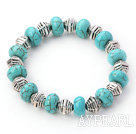 Stretch turquoise and tibet silver beads bangle bracelet