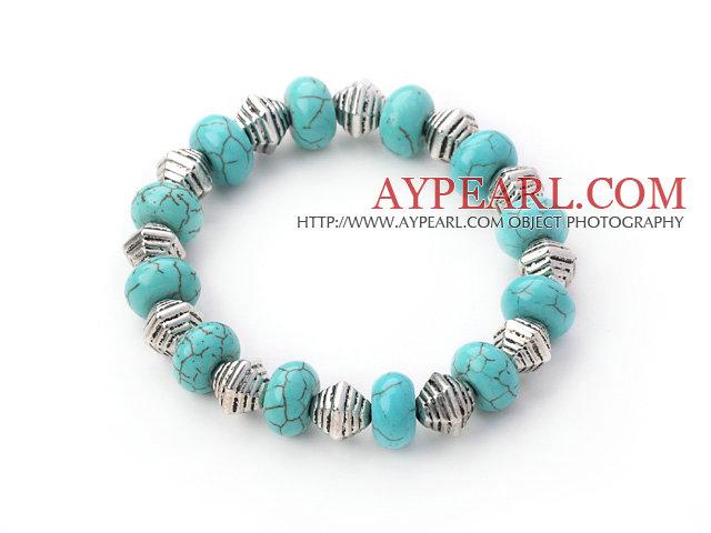 Stretch turkos och Tibet silver pärlor armband armband 13c86bbcc2c40