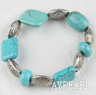 Stretch chunky style assorted shape turquoise bangle bracelet