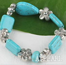 Wholesale Stretch chunky style assorted shape turquoise and flower beads bangle bracelet
