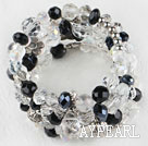 Wholesale 7.5 inches multi strand stretchy white and black crystal bracelet bangle