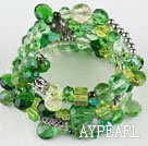 7.5 inches multi strand stretchy green crystal bracelet bangle