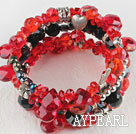 Wholesale 7.5 inches multi strand stretchy red and black crystal bracelet bangle