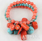 Wholesale elastic style 7.5 inches pink coral and turquoise bracelet