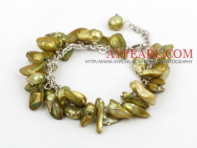 dyed green pearl bracelet with lobster clasp