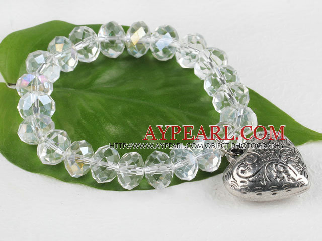 7.5 inches elastic clear crystal bracelet with heart charm