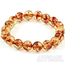 10mm Round Immitation Amber Elastic Bangle Bracelet