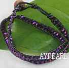 Wholesale 15.0 inches purple 4mm manmade crystal wrap bracelet