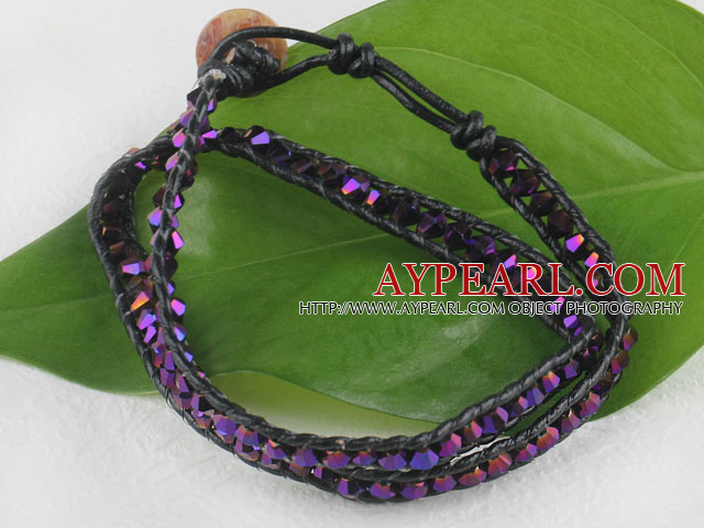 15.0 inches purple 4mm manmade crystal wrap bracelet