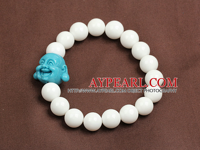 Classic Design White Porcelian Stone Beads Elastic/ Stretch Bracelet With Blue Buddha Head