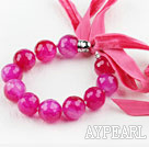 Wholesale Brilliant Rose Color Agate Beaded Bracelet with Ribbon