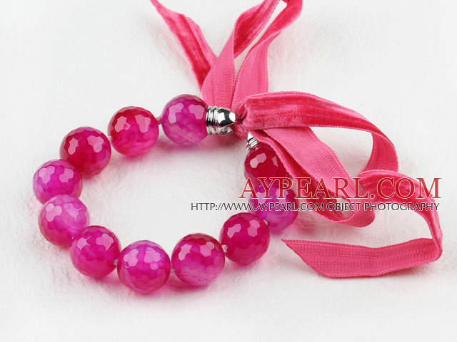 Brilliant Rose Color Agate Beaded armbånd med Ribbon