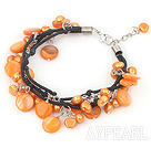 dyed orange color pearl shell bracelet with lobster clasp
