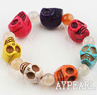 Multi Color Turquoise Skull Stretch Halloween Bracelet