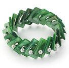 Green Color Donut Shell and White Seashell Beads Stretch Bangle Bracelet