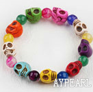 Wholesale Multi Color Agate and Skull Stretch Halloween Bracelet
