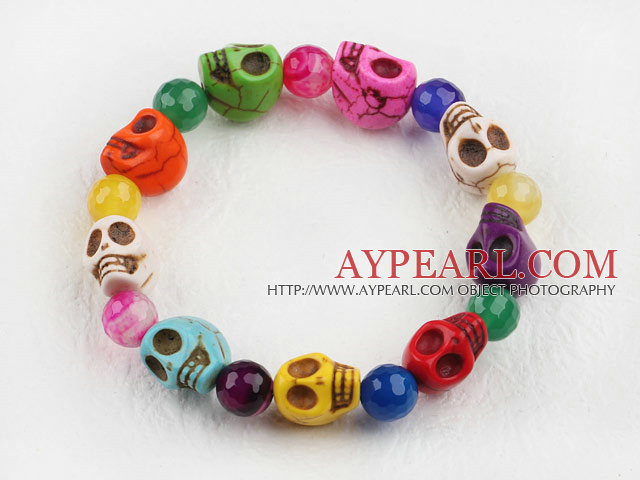 Multi Color Agate and Skull Stretch Halloween Bracelet