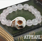 Wholesale Round Rose Quartz and Turquoise Skull Elastic Bracelet