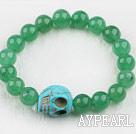 Wholesale Round Aventurine and Turquoise Skull Elastic Bracelet