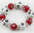 White and Red Color Eye Shape Colored Glaze Elastic Bracelet
