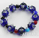 Wholesale Dark Blue Color Eye Shape Colored Glaze Elastic Bracelet