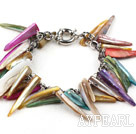 Multi Color lange tenner Shape Shell armbånd med Metal Chain