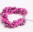 Fashion Multi Strand Natural Rose Red Freshwater Pearl Twisted Armbånd