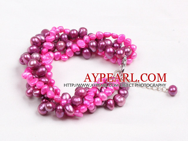 Fashion Multi Strand Natural Rose Red Freshwater Pearl Twisted Bracelet