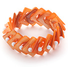 Orange Color Donut Shell and White Seashell Beads Stretch Bangle Bracelet