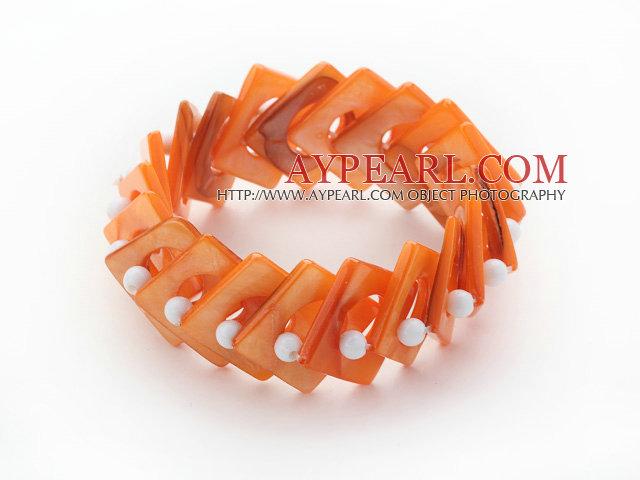 Orange Color Donut Shell and White Seashell Beads Stretch Bangle Bracelet
