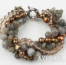 Multi Strand Brown Freshwater Pearl Crystal and Flashing Stone Bracelet