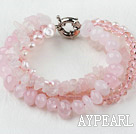 Multi Strand Pink Freshwater Pearl Crystal and Rose Quartz Bracelet