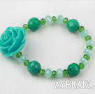 Wholesale Xinjiang Turquoise and Green Crystal Flower Elastic Bracelet
