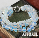 Wholesale Multi Strand White Freshwater Pearl Crystal and Opal Bracelet