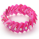 Hot Pink Color Donut Shell and White Seashell Beads Stretch Bangle Bracelet
