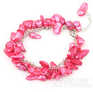 Wholesale dyed red pearl bracelet with lobster clasp