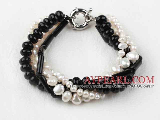 Multi Strand White Freshwater Pearl and Black Agate Bracelet