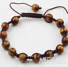Wholesale 8mm Tiger Eye Woven Drawstring Bracelet with Adjustable Thread