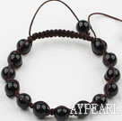 8mm Black Agate Beaded Woven Drawstring Bracelet with Adjustable Thread